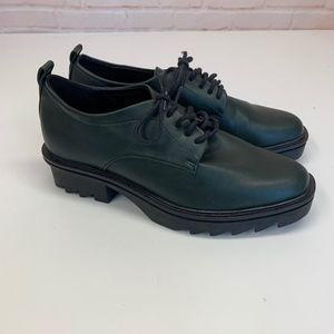 ZARA Hunter Green Lace Up Oxfords Shoes 36
